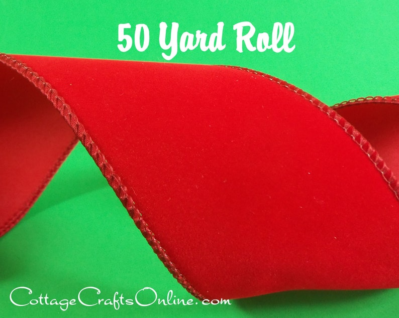 Wired Ribbon 4 Red Velvet Style  FIFTY YARD ROLL  image 0