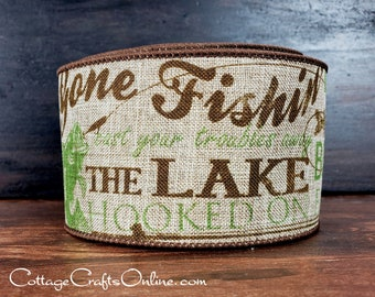 "Wired Ribbon, 2 1/2"", Green & Brown Fish Script and Print, Tan Linen Look - TEN YARD Roll - ""Talk Fish 40""  Craft Wire Edged Ribbon"