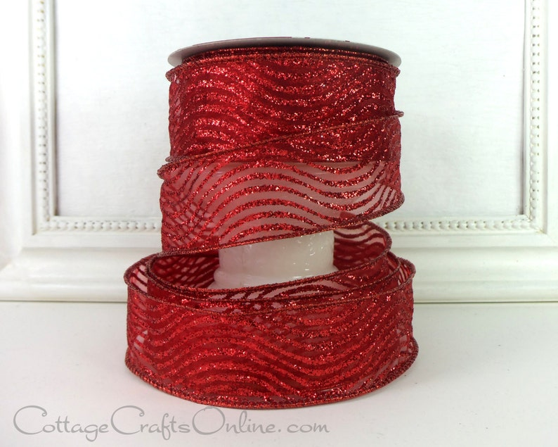 Valentine  Craft Wire Edged Ribbon Red Wavy Striped Glitter Offray Curtsy #L91103 Christmas TWENTY FIVE YARDS 1 12 wide Wired Ribbon