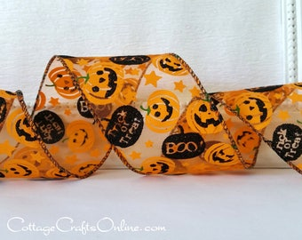 "Halloween Wired Ribbon, 2 1/2"", Orange Jack O'Lanterns, Black Glitter Pumpkin on Sheer - THREE YARDS - Offray, ""Ozzie"", Wire Edged Ribbon"