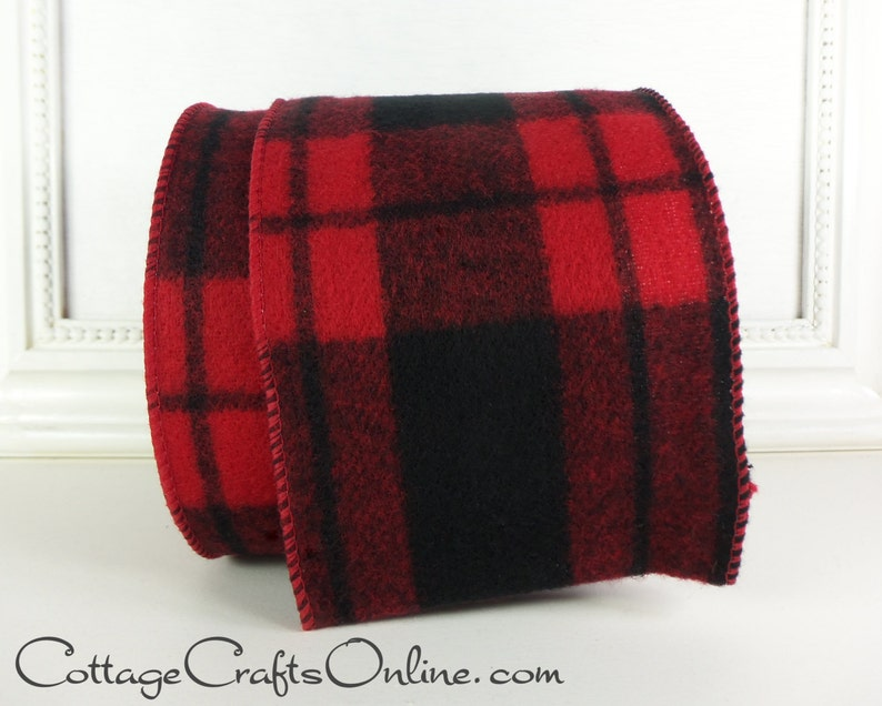 Buffalo Plaid Christmas Wired Ribbon 4 Red and Black image 0