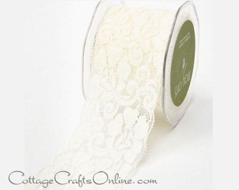 """Elastic Lace Ribbon 2 1/2"""" wide, Ivory - ONE YARD - May Arts - Off-White, Light Cream, Use for hairbands, sewing, lingerie"""
