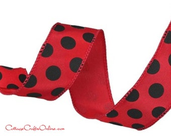 """Wired Ribbon, 1 1/2"""", Red with Black Polka Dots on Satin - TEN YARDS ~ Large Dot ~ Halloween, Christmas Craft Wired Edge Ribbon"""