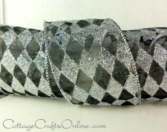 "Wired Ribbon, 2 1/2"" wide, Silver Glitter and Black Harlequin Diamond - THREE YARDS - Offray ""Silver Harlequin"" Christmas Wire Edged Ribbon"