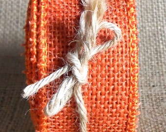 "Burlap Wired Ribbon, 1 1/2""  Orange Natural Jute, THREE YARDS, Offray Halloween, Spring, Easter, Summer, Prim Craft Decor Wire Edge Ribbon 9"
