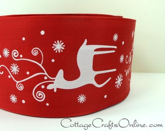 "Christmas Wired Ribbon, 2 1/2"" wide, White Deer Print on Red - THREE YARDS - ""Snow Deer"" Craft, Decor Wire Edged Ribbon"