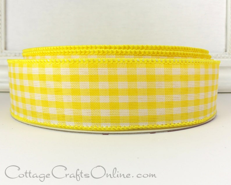 Wired Ribbon 1 1/2 Yellow White Gingham Check Plaid image 0