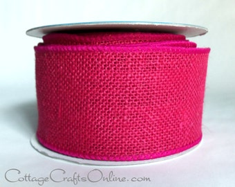 """Burlap Wired Ribbon, 2 1/2"""", Pink Fuchsia  - Ten Yards - Offray Natural Jute Bright Pink  Wire Edged Burlap Ribbon"""