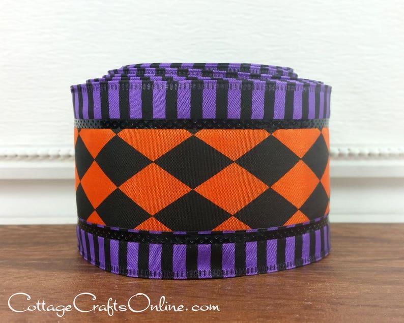 Halloween Wired Ribbon 2 1/2 Orange and Black Harlequin image 0