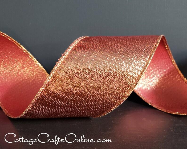Wired Ribbon 2 1/2 Copper Orange Metallic Stripe  TEN image 0