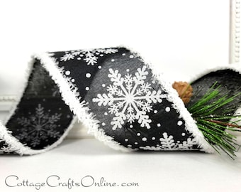 """Christmas Wired Ribbon 2 1/2"""", White Glittered Snowflakes on Black, Snowy Edge - TEN YARD ROLL ~ Midnight Snowdrift ~  Wire Edged Ribbon"""