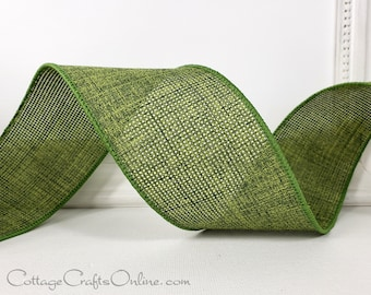 """Wired Ribbon, 2 1/2"""", Sage Moss Green - THREE YARDS  - Offray ~ Merrit 40 ~ Fall, Christmas, Thanksgiving Wire Edged Ribbon"""