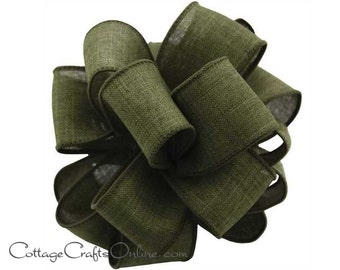 """Wired Ribbon, 2 1/2"""", Moss Green Faux Linen - THREE YARDS  - Offray ~ Divinely Royal Forest ~ Fall, Christmas Craft Wire Edged Ribbon"""