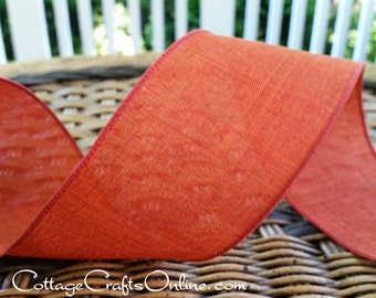 """Fall Wired Ribbon, 2 1/2"""", Rust Burnt Orange Faux Linen - THREE YARDS  - Offray ~ Divine ~  Canvas Look Thanksgiving Wire Edged Ribbon"""