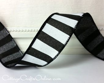 "Wired Ribbon, 1 1/2"" wide, Black and White Stripe - TEN YARD ROLL - ""Cabana Black"", Horizontal Stripe Wire Edged Ribbon"