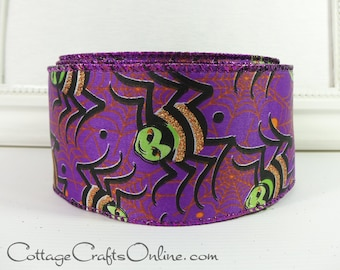 "Halloween Wired Ribbon 2 1/2"", Glittered Spider on Purple Satin - TWENTY FIVE YARD Roll -  ""Spider Crawl""  Wire Edged Ribbon"