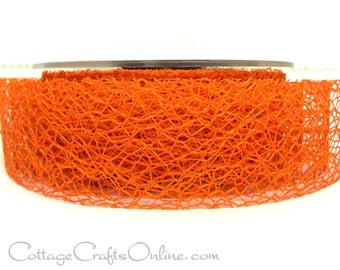 "Ribbon Halloween Orange Spider Web 1 1/2"" wide, THREE YARDS - May Arts Webbed Net Orange Craft Ribbon Trim"