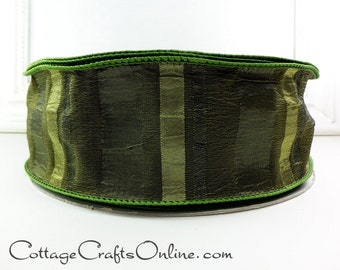 "Christmas Wired Ribbon, 2 1/2"" wide, Green Satin Crepe Stripe - SEVENTEEN YARDS - Offray ""Olive"" #712212A Thanksgiving Wire Edged Ribbon"