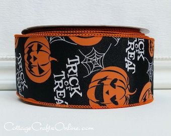 "Halloween Wired Ribbon, 2 1/2"", Orange Jack O'Lanterns on Black - TWENTY FIVE YARD Roll - Offray ""Trick or Treat"" Pumpkin Wire Edged Ribbon"