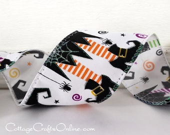 "Halloween Wired Ribbon, 2 1/2"" Witch's Legs - TEN YARD ROLL -  ""Which Leg?"" Orange, Purple, Lime Witch, Spider Craft Wired Edge Ribbon"