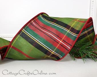 "d. Stevens Christmas Wired Ribbon, 4"", Olive Green, Red Faux Dupioni Tartan Stripe Plaid - TEN YARD Roll ~ Highland Moss ~ Wire Edged Ribbon"
