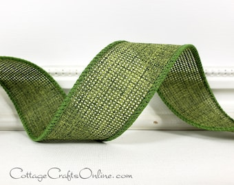"""Wired Ribbon, 1 1/2"""", Sage Moss Green - THREE YARDS  - Offray ~ Merrit 9 ~ Fall, Christmas, Thanksgiving Wire Edged Ribbon"""