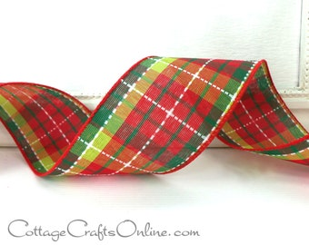 "Christmas Wired Ribbon 2 1/2"", Dark Red, Lime Green, White Stitch Plaid - THREE & 3/4 YARDS - ""Tillis Check 1"" #806731 Wire Edged Ribbon"