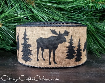 "Christmas Wired Ribbon, 2.5"", Brown Moose, Deer and Bear Print on Tan Faux Linen - TEN YARD ROLL - ""Wilderness Natural"" Wire Edged Ribbon"