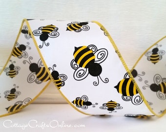 """Wired Ribbon 2 1/2"""" Black and Yellow Bumble Bees on White Satin - TEN YARD ROLL - """"Bumblebee"""" Spring, Summer Craft Decor Wire Edged Ribbon"""