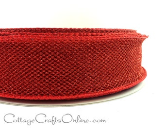 """Red Wired Ribbon, 1 1/2"""",  Red Metallic Mesh Net - THREE YARDS -  Offray """"All That Glitters Red"""" Christmas, Valentine Wire Edged Ribbon"""