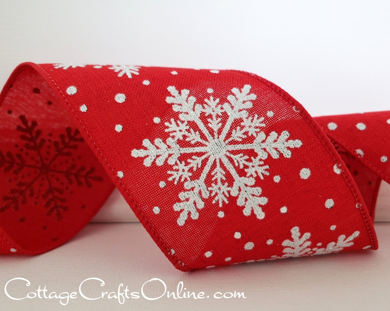 Christmas Wired Ribbon 2 1/2 Red Linen Bold Glitter image 0