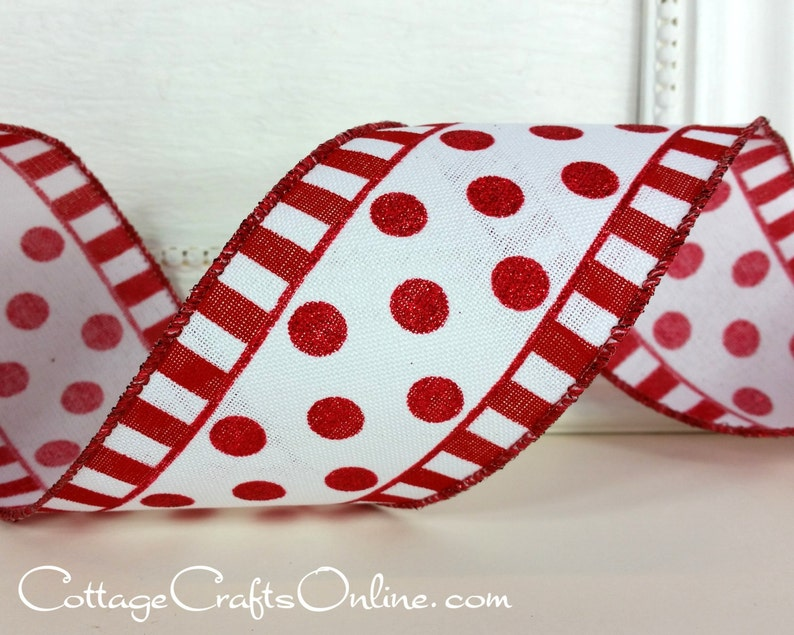 Wired Ribbon 2 1/2 wide Red Glitter Polka Dots and image 0