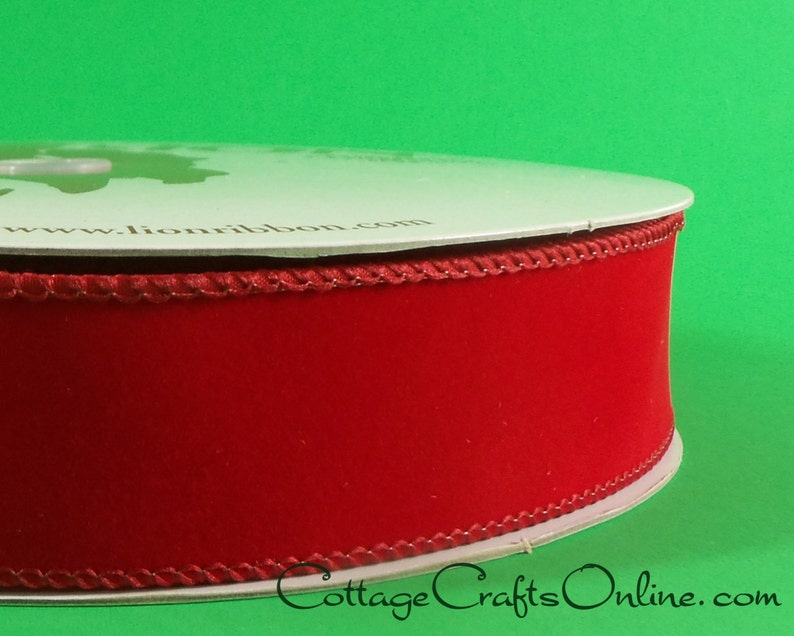 Christmas Wired Ribbon 1 1/2 Red Velvet Style   THREE image 0