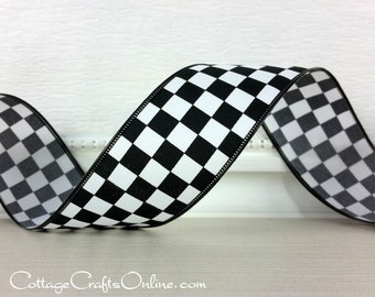 """Wired Ribbon, 1 1/2"""", Black and White Check Plaid - TEN YARD ROLL - """"Raceway 910"""" Race Finish Flag, Wire Edged Ribbon"""
