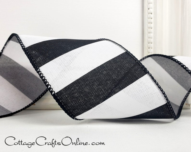 Striped Wired Ribbon 2 1/2 Black and White Linen Style image 0