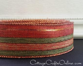 "Wired Ribbon, 1 1/2""  Copper Striped Metallic, Green Linen Look - TWENTY YARD ROLL - ""November"" Fall, Thanksgiving, Wire Edged Ribbon"