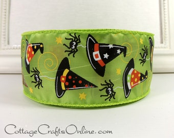 "Halloween Wired Ribbon, 2 1/2"" Witch's Hat Citrus Green - TWENTY FIVE YARD Roll -  Witch, Spider Lime Wired Edge Ribbon"