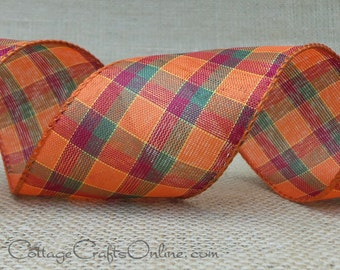 """Wired Ribbon, 2 1/2"""" , Fall Plaid Orange, Green, Red -  EIGHT & 7/8 YARDS -  Offray """"Stitch"""" #426 Halloween, Autumn Wire Edged Ribbon"""