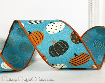 """Wired Ribbon, 2 1/2"""", Patterned Pumpkins on Light Teal Blue - TEN YARD ROLL ~  Mod Pumpkin ~ Turquoise Fall, Thanksgiving Wire Edged Ribbon"""