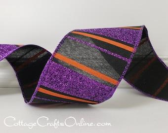 """Halloween Wired Ribbon, 2 1/2"""", Purple Glitter, Orange Stripes on Black ~ TEN YARD ROLL ~ Wizard's Regimental Stripe ~ Wire Edged"""