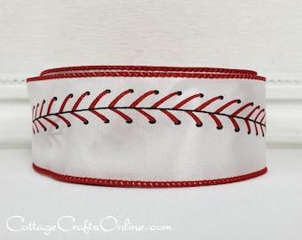 "Wired Ribbon,  1 1/2"" wide,  Baseball Sports Print - TEN YARD ROLL -  ""Play Ball 9""  Spring Sports Base Ball Craft Wire Edged Ribbon"
