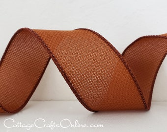 """Wired Ribbon, 1 1/2"""", Copper Rust Brown Hopsacking Texture ~ THREE YARDS ~ Offray ~ Rupert Copper ~ Fall, Thanksgiving Wire Edged Ribbon"""