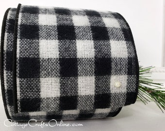 """Buffalo Plaid Wired Ribbon, 4"""", Black and White Flannel Fuzzy - TEN YARD Roll -  """"Henry Buffalo"""" Black White Check Wire Edged Ribbon"""
