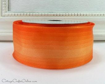 "Ombre Wired Ribbon, 1 1/2"" wide, Orange - TEN YARD ROLL -  ""Sundown"" Gradient Watercolor Craft Wire Edged Ribbon"