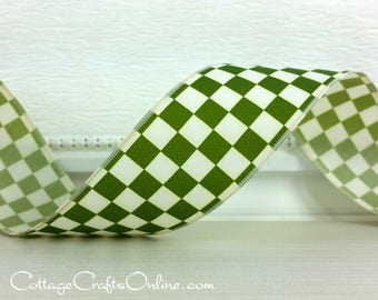 """Wired Ribbon, 1 1/2"""", Moss Green Ivory Mini Check - TEN YARD ROLL - """"Checkerboard Green"""" Plaid Spring, Fall, Christmas Wire Edged Ribbon"""