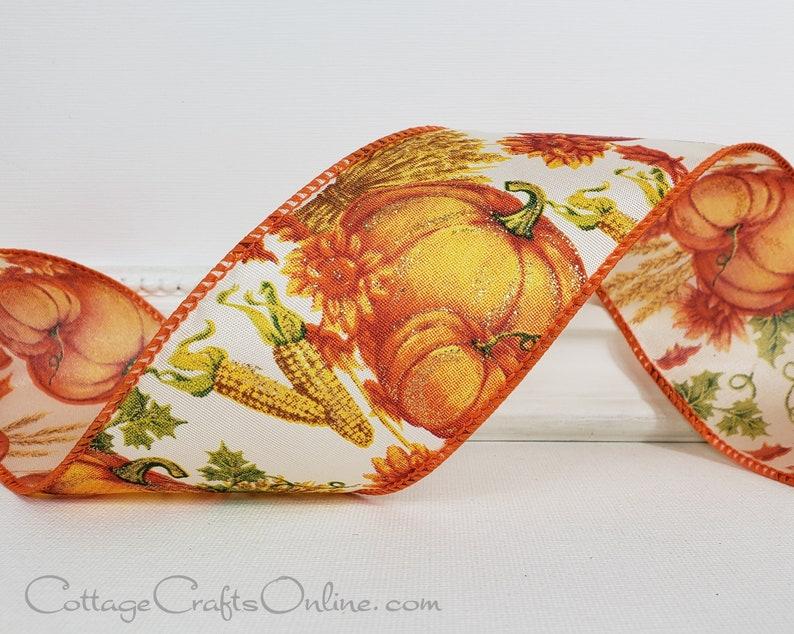 Fall Wired Ribbon 2 1/2 Pumpkins Corn Sunflowers image 0