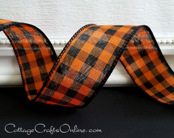 """Halloween Wired Ribbon 1 1/2"""", Orange and Black Gingham Check - THREE YARDS - Offray  Plaid Wired Edged Ribbon"""