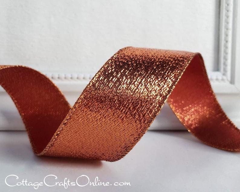 Wired Ribbon 1 1/2 Copper Orange Metallic Stripe  TEN image 0