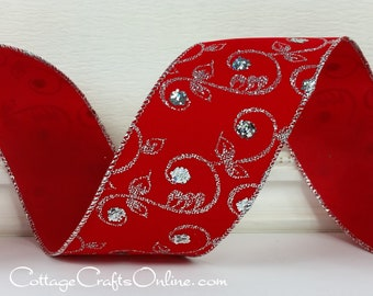 """Christmas Wired Ribbon, 2 1/2"""" Silver Glitter Filigree Scroll on Red - THREE YARDS - Offray ~ Christmas Espirit ~  Wire Edged Ribbon"""