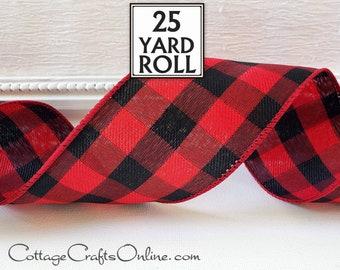 "Buffalo Plaid Christmas Wired Ribbon, 2 1/2"", TWENTY FIVE YARD Roll, Red and Black Check ~ Buffalo Twill 40 ~ Cabin Wire Edged Ribbon"
